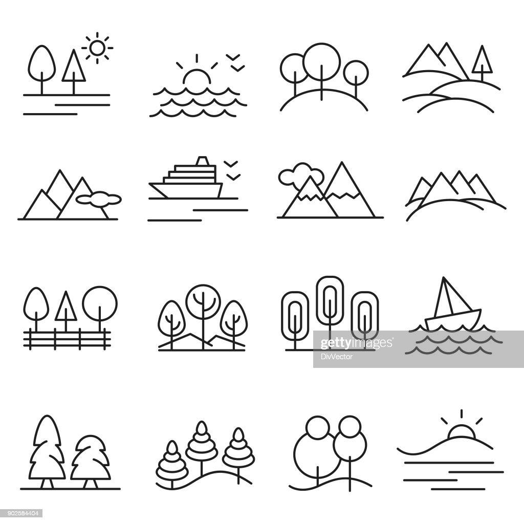 Landschaft-Icon-set : Stock-Illustration