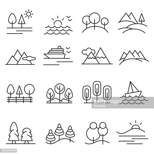 landschaft-icon-set - natur stock-grafiken, -clipart, -cartoons und -symbole