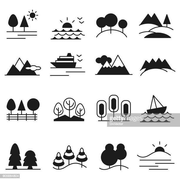 landscape icon set - hill stock illustrations, clip art, cartoons, & icons