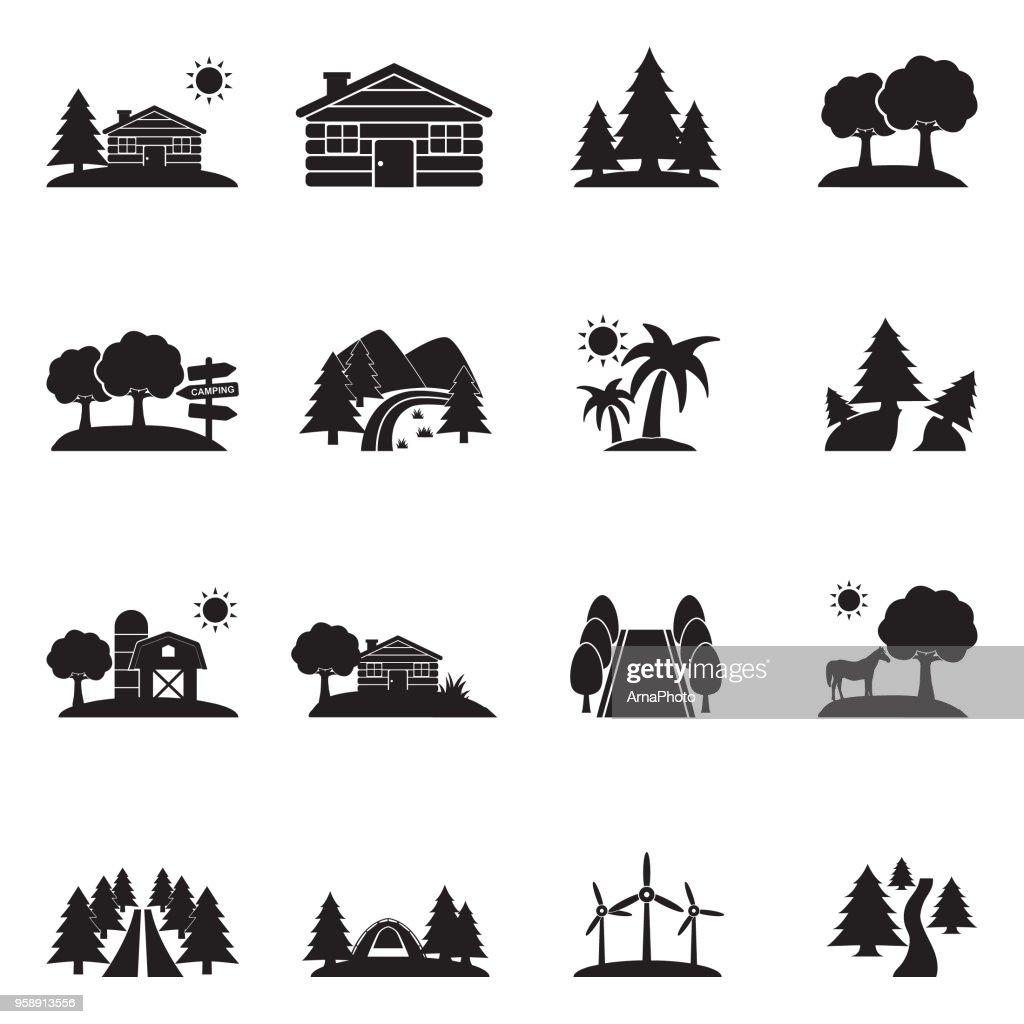 Landscape Icons. Black Flat Design. Vector Illustration.