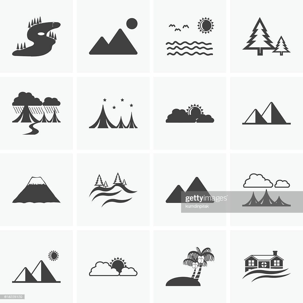 landscape icons, mono vector symbols