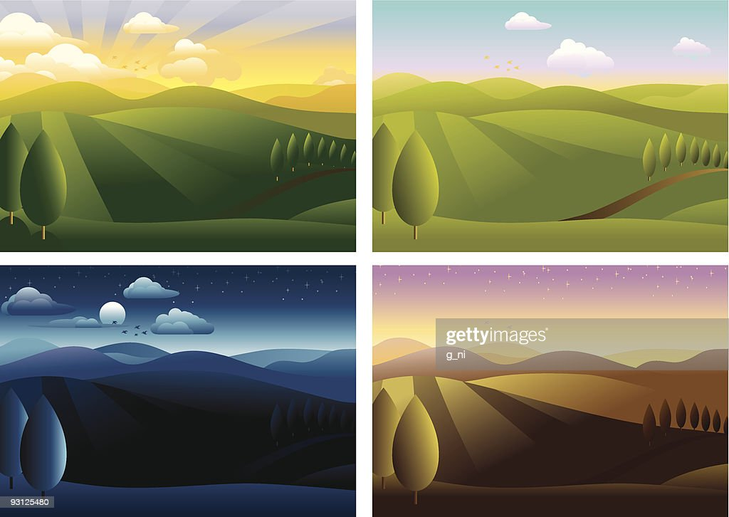 Landscape in four different times of day