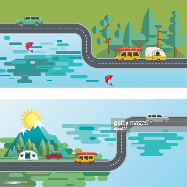 landscape infographic - people travelling to their vacation destinations - road stock illustrations