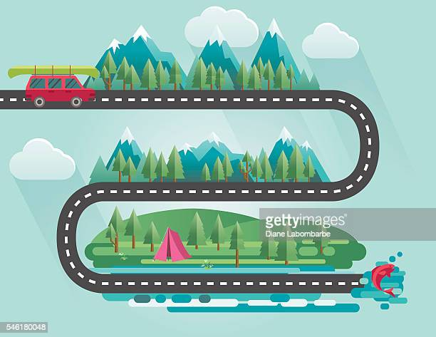 landscape infographic - people travelling to their vacation destinations - berg stock-grafiken, -clipart, -cartoons und -symbole