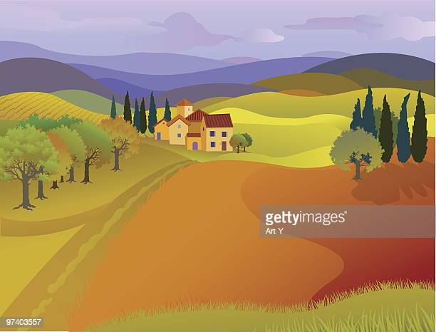 landscape of house with rolling hills and pastures - tuscany stock illustrations, clip art, cartoons, & icons