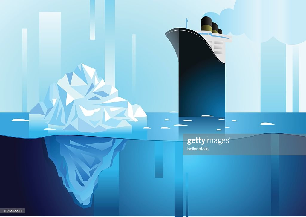 Landscape of northern and Antarctic life. Art deco vector illustration.