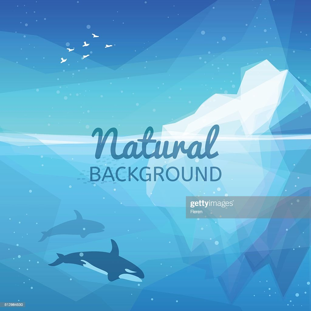 Landscape of northern and Antarctic life. Underwater Iceberg nature background