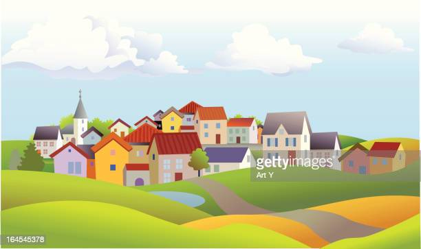 landscape of small town with church and rolling hills - town stock illustrations