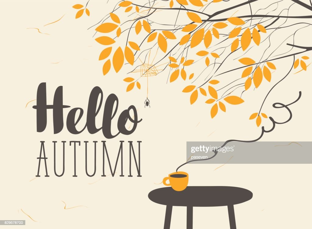 landscape on autumn theme with cup on the table