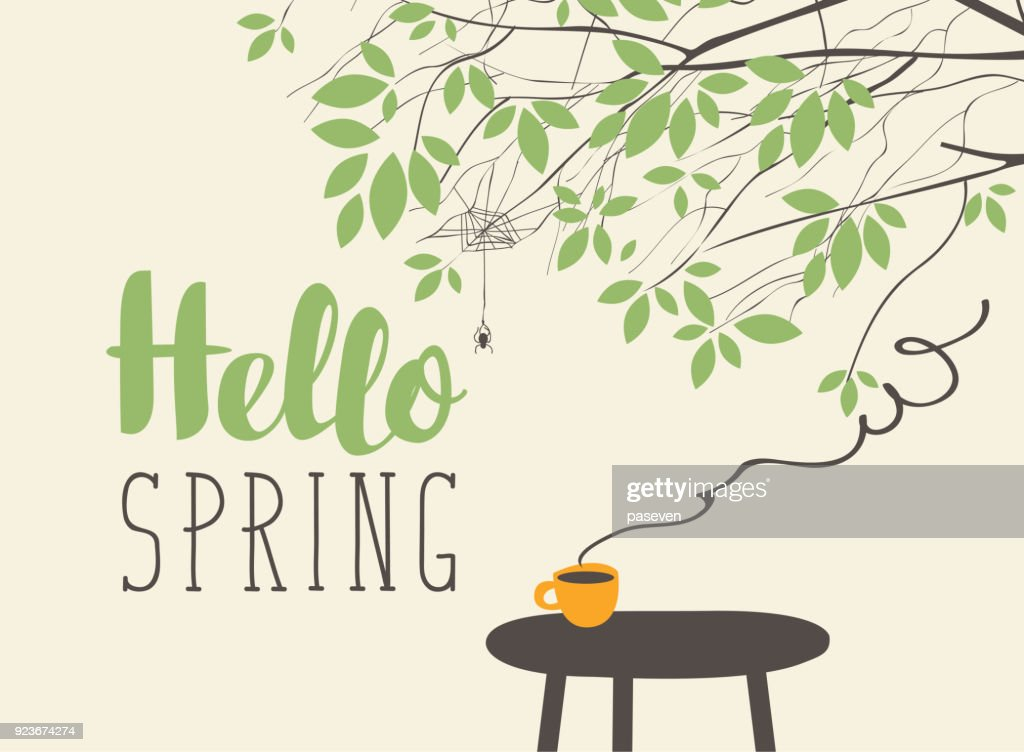 landscape on spring theme with cup on the table