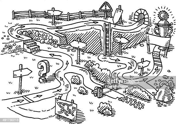 landscape path success concept drawing - obstacle course stock illustrations