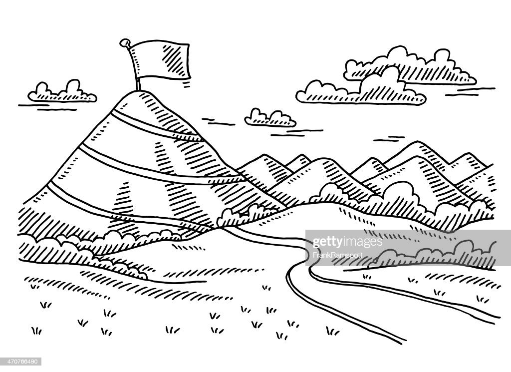 Landscape Road To Summit Concept Drawing Vector Art | Getty Images