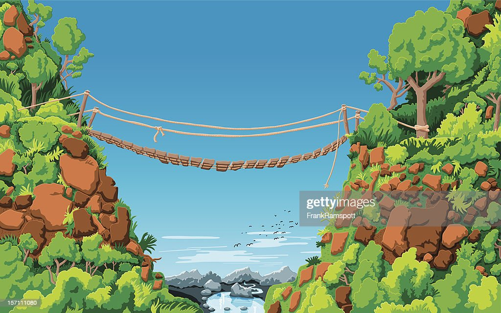 Landschaft Seilbrücke Gully : Stock-Illustration