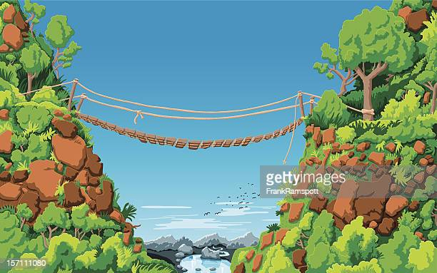 landscape rope bridge gully - steep stock illustrations, clip art, cartoons, & icons