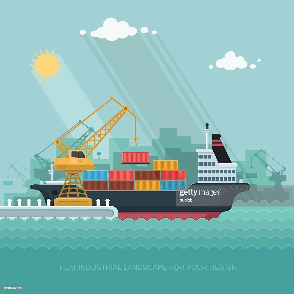 Landscape seaport. crane which unloads. Carrier, Ship. Flat vector illustration