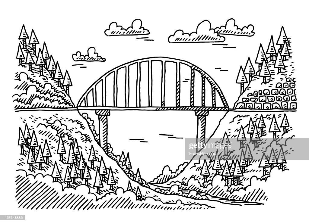 Landscape Valley Nature Bridge Drawing