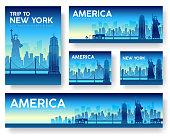 USA landscape vector banners set