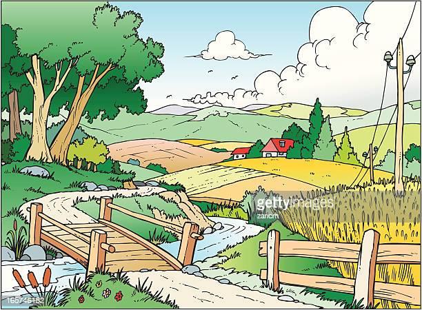 illustrations, cliparts, dessins animés et icônes de paysage - village