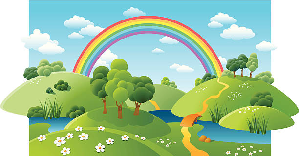 landscape with a rainbow - rainbow stock illustrations