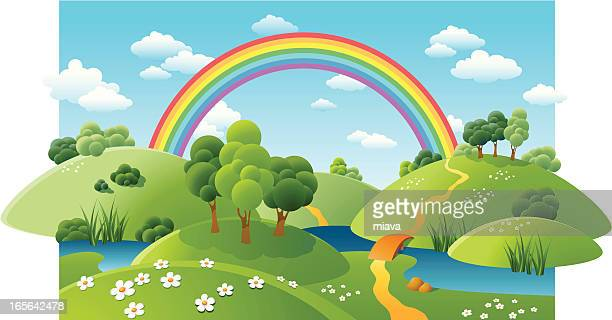landscape with a rainbow - rainbow stock illustrations, clip art, cartoons, & icons