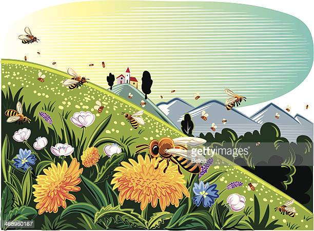 landscape with bees - pollen stock illustrations