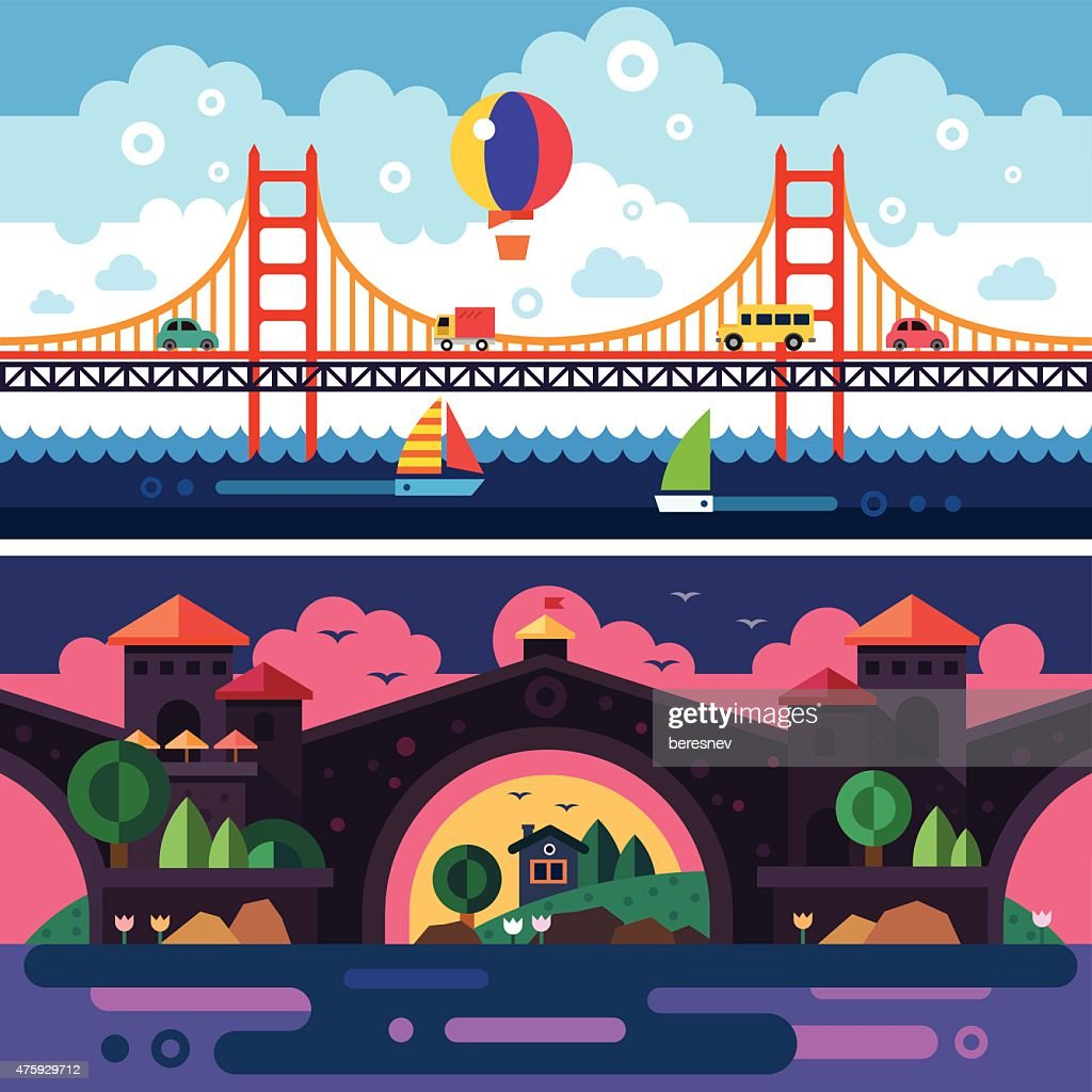 Landscape with bridge. Day and night