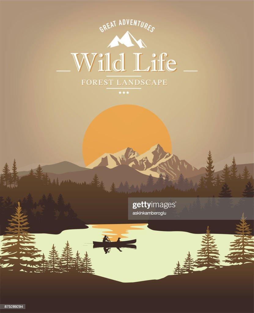 Paisaje con canoa : Ilustración de stock