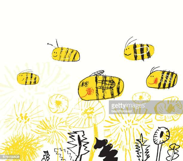 landscape with flowers and bees - bumblebee stock illustrations, clip art, cartoons, & icons