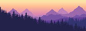 Landscape with high mountains and coniferous forest in multiple layers, under yellow purple sky and space for text - vector