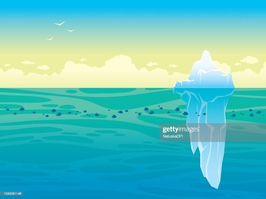 Landscape with iceberg, sea and sky.