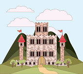 landscape with mountains and princesses castle in colorful silhouette