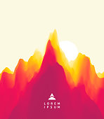 Landscape with mountains and sun. Sunset. Mountainous terrain. Abstract background. Vector illustration.