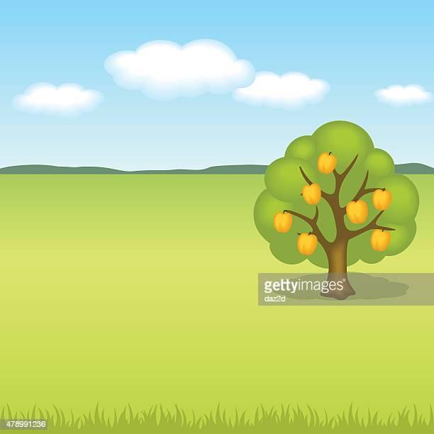 Paysage avec arbre de pêche