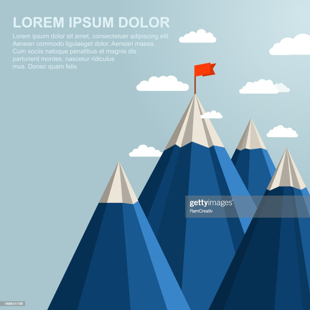 Landscape with red flag on top of Mountain. Leadership concept