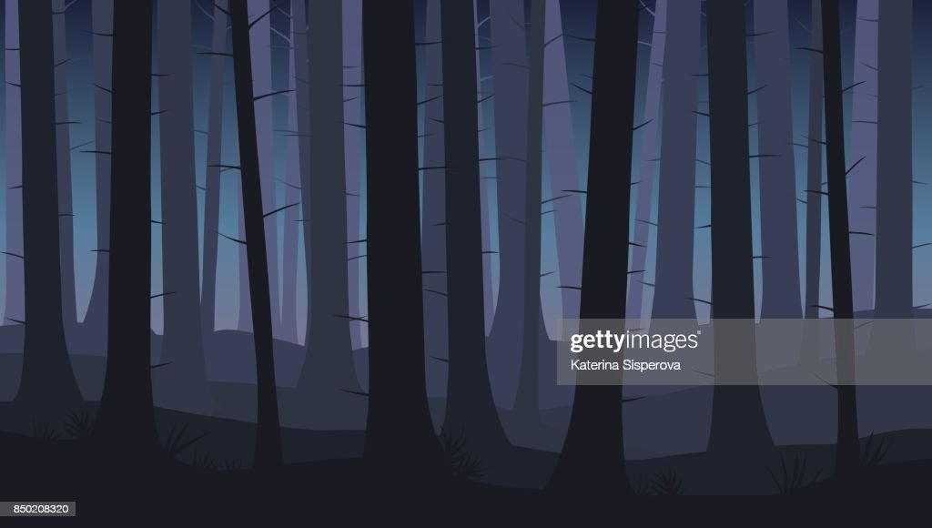 Landscape with silhouettes of blue trees in dark night forest - vector illustration