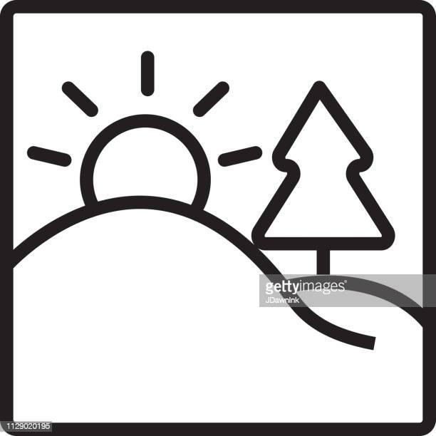 landscape with sun and tree flat simple outline line art design icon - hill stock illustrations, clip art, cartoons, & icons
