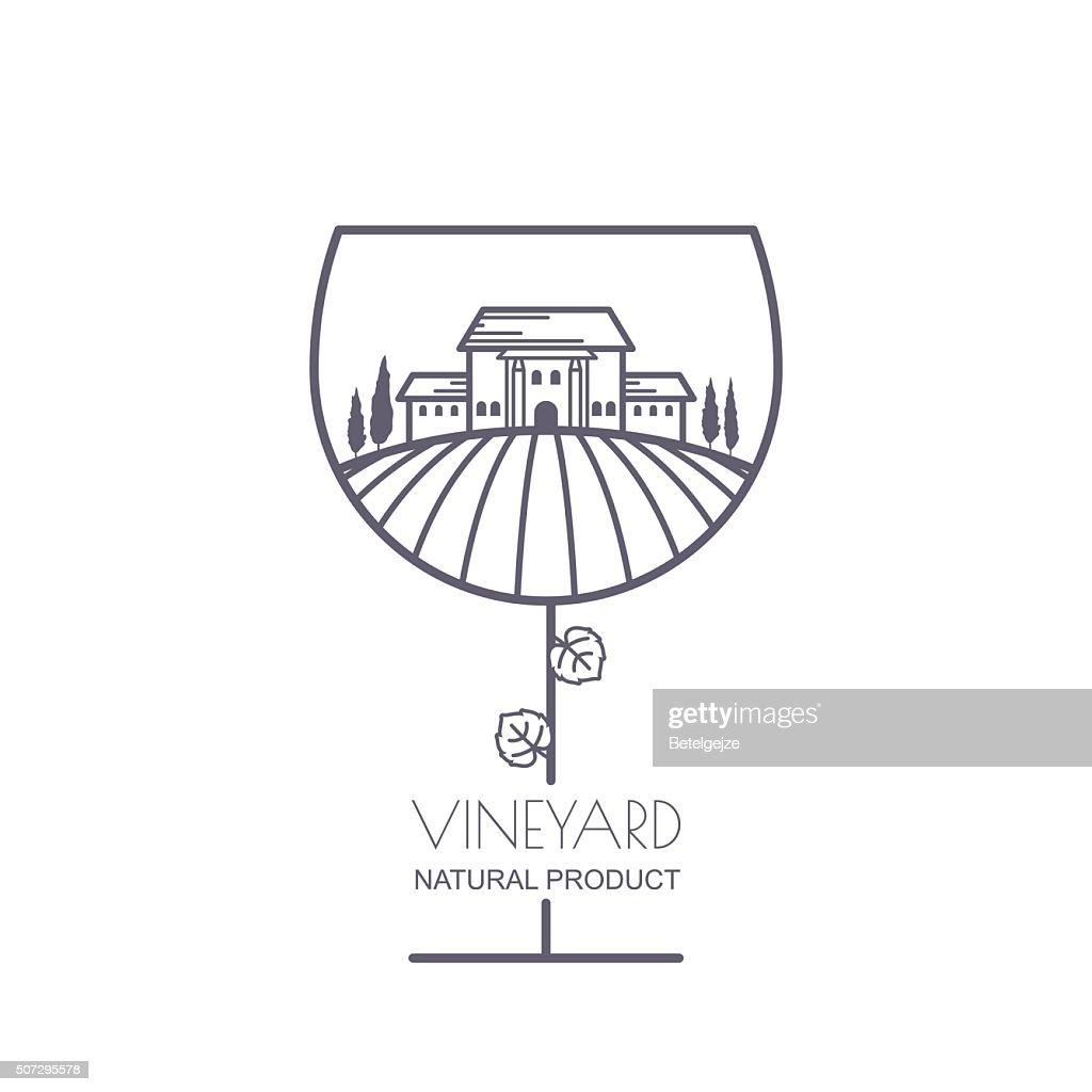 Landscape with vineyard fields, villa, trees in wine glass shape.