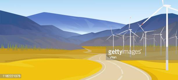 landscape with wind generators. landscape with a road going over the horizon. vector illustration. eps10 - panoramic stock illustrations
