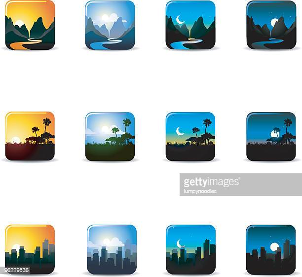 Landscapes Morning Noon and Night Icons