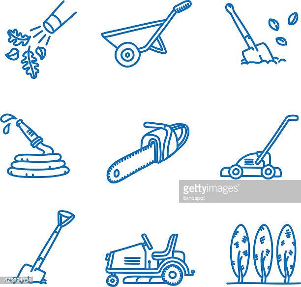 landscaping and gardening icons - supercharged engine stock illustrations, clip art, cartoons, & icons