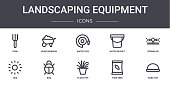 landscaping equipment concept line icons set