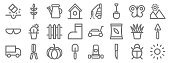landscaping equipment line icons linear set