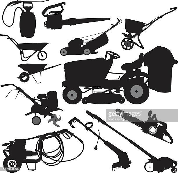 landscaping equipment, yard work tools - leaf blower stock illustrations
