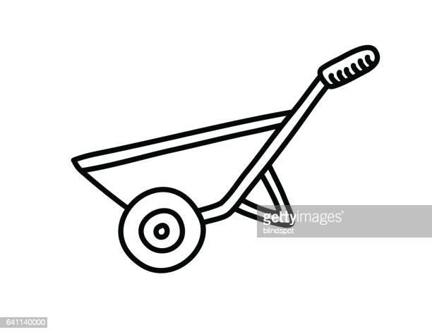 landscaping icon - wheelbarrow stock illustrations, clip art, cartoons, & icons