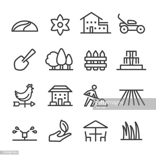 landscaping icons - line series - sprinkler stock illustrations