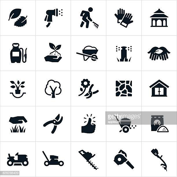 landscaping icons - gardening stock illustrations
