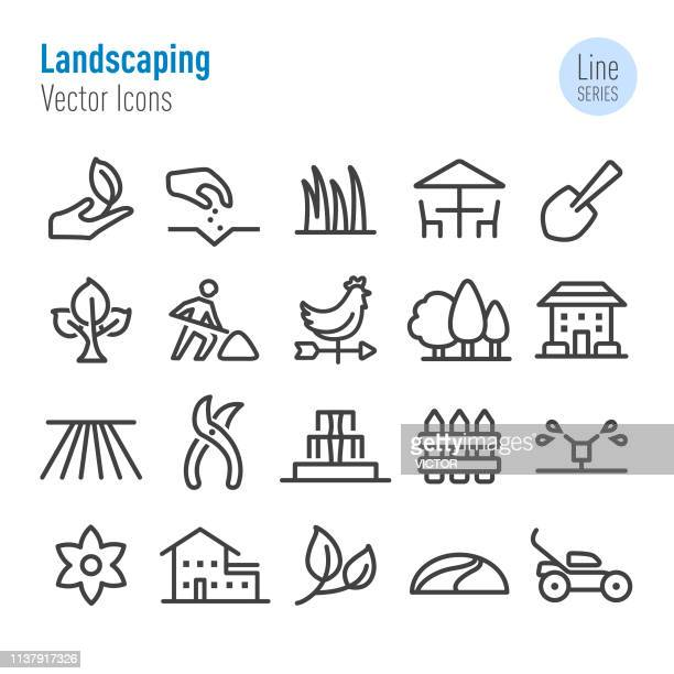 illustrazioni stock, clip art, cartoni animati e icone di tendenza di landscaping icons - vector line series - parte di una serie