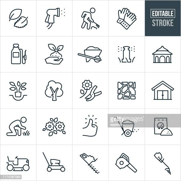 landscaping thin line icons - editable stroke - leaf blower stock illustrations