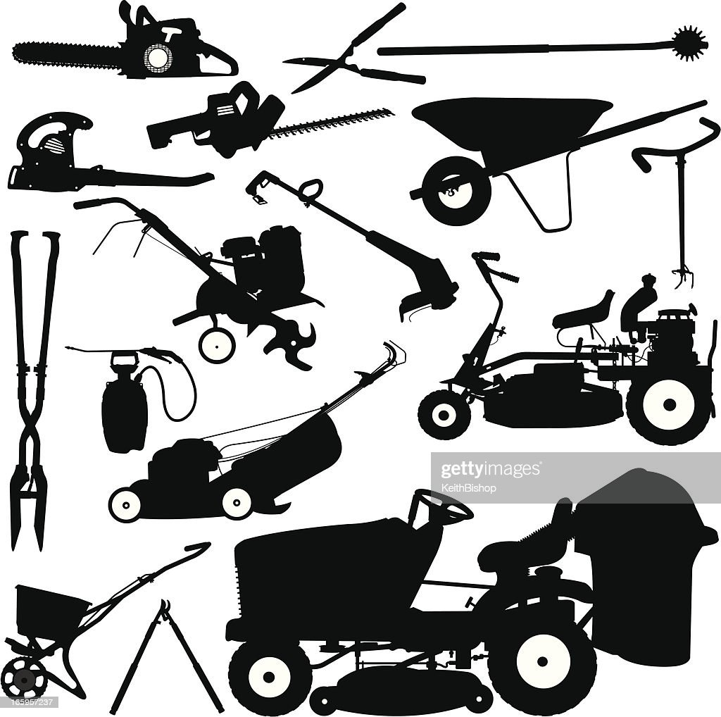 Landscaping Tools, Lawn Mower, Pruners, Wheelbarrow : stock illustration