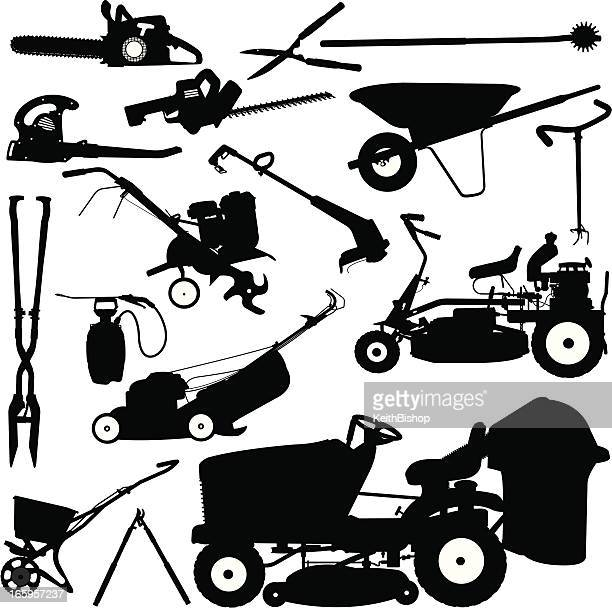 landscaping tools, lawn mower, pruners, wheelbarrow - leaf blower stock illustrations